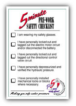 """Take 5™"" pre-work safety checklist- FRONT"